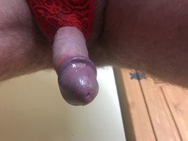 Red thong, hard cock.