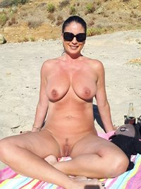 My wife enjoying the nude beach, come put a bigger smile on her face while ...