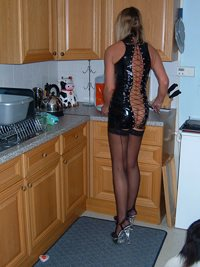 Preparing dinner - do you like my outfit?