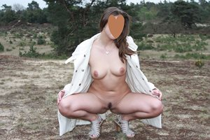 Wandering in Holland forests, completely naked under my short coat ;-)