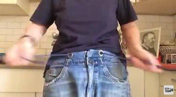 Close Up HandJob in Blue T-Shirt