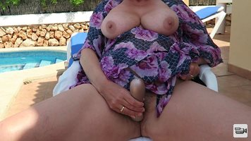 Wife having more fun by the pool
