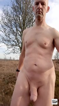 walking naked in the countryside with a hard on