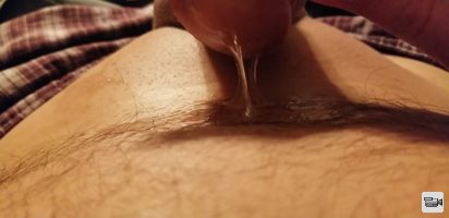 Stretching my piercing has me leaking precum.